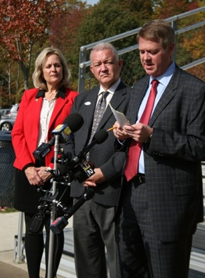 House Minority Whip Kathy Szeliga, Senate Minority Leader David Brinkley and GOP counsel Dick Haire. (Photo: Glynis Kazanjian)